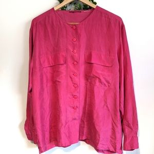 Vintage Pink Silk Blouse Button Down with Pockets